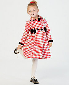 Blueberi Boulevard Toddler Girls 2-Pc. Houndstooth Coat & Velvet Dress Set