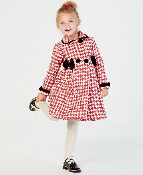 2e52aa093 Blueberi Boulevard Little Girls 2-Pc. Houndstooth Coat   Velvet Dress ...