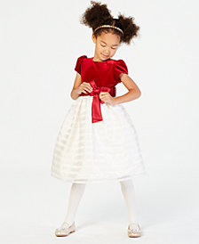 Jayne Copeland Little Girls Velvet Shadow-Striped Dress