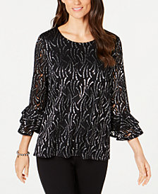 Alfani Petite Foil Ruffle Sleeve Top, Created for Macy's