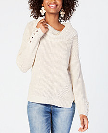 American Rag Juniors' Lace-Up Cowl-Neck Sweater, Created for Macy's