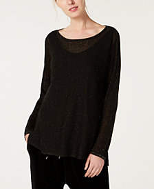 Eileen Fisher Organic Linen Metallic Mesh Tunic, Regular & Petite