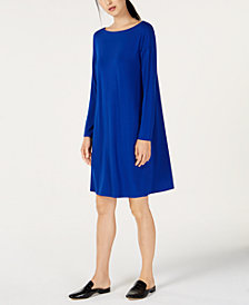 Eileen Fisher Bateau-Neck Twist-Back Stretch Jersey Shift Dress, Regular & Petite