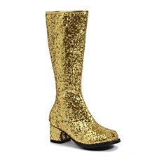 Gold Glitter Little Girls Gogo Boots