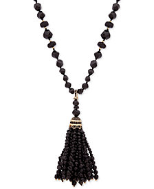 "Anne Klein Gold-Tone Crystal & Bead 32"" Tassel Pendant Necklace, Created for Macy's"