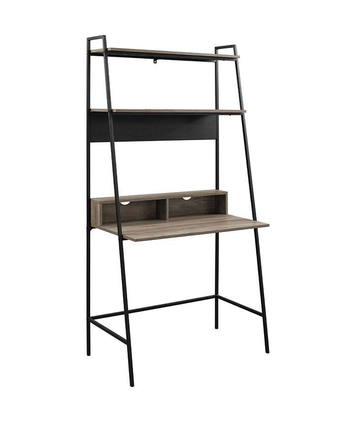Walker Edison - 36 inch Metal and Wood Ladder Desk in Grey Wash
