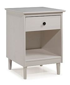 1 Drawer Solid Wood Nightstand in White