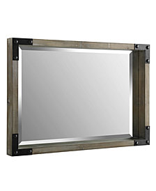36 inch Rectangle Wood Mirror with Metal Corner Brackets