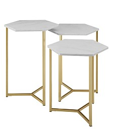 Set of 3 Hex Nesting Tables in Faux White Marble and Gold
