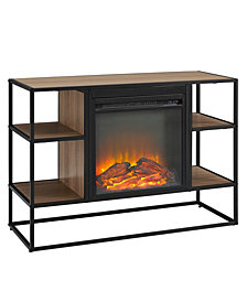 40 inch Metal and Wood Open Shelf Fireplace Console
