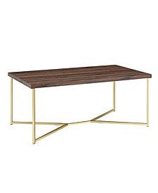 42 inc Y Leg Coffee Table in Dark Walnut and Gold