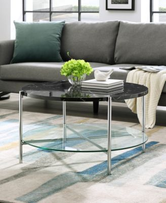 Walker Edison 32 Inch Round Coffee Table In Black Faux Marble With Glass  Shelf And Chrome Legs   Furniture   Macyu0027s