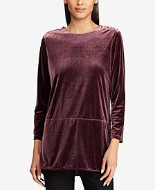 Lauren Ralph Lauren Georgette Velvet Tunic Top