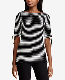 Lauren Ralph Lauren Ribbon-Sleeve Striped Boatneck Top