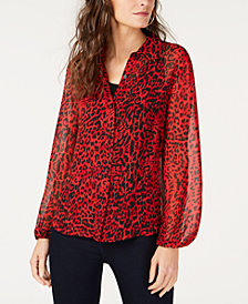 I.N.C. Petite Printed Blouse, Created for Macy's