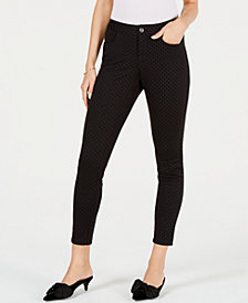 Maison Jules Flocked Ankle Skinny Pants, Created for Macy's