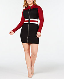 Say What? Trendy Plus Size Colorblocked Faux-Zip Sweater Dress