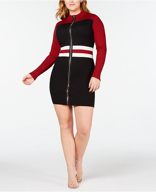 22be3ab5da Say What  Trendy Plus Size Colorblocked Faux-Zip Sweater Dress ...