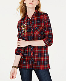 PROJECT 28 NYC Juniors' Embroidered Plaid Shirt