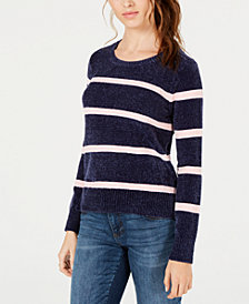 Maison Jules Striped Chenille Top, Created for Macy's