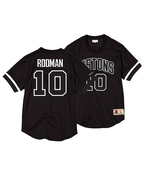 dc058a04b86 Mitchell   Ness Men s Dennis Rodman Detroit Pistons Black   White Mesh Name  and Number Crew ...