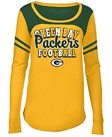 5th & Ocean Green Bay Packers Sleeve Stripe Long Sleeve T-Shirt, Girls (4-16)
