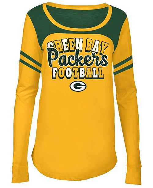 5th & Ocean Green Bay Packers Sleeve Stripe Long Sleeve T-Shirt, Girls (4-16)