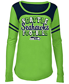5th & Ocean Seattle Seahawks Sleeve Stripe Long Sleeve T-Shirt, Girls (4-16)