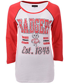 5th & Ocean Women's Wisconsin Badgers Team Stripe Raglan T-Shirt