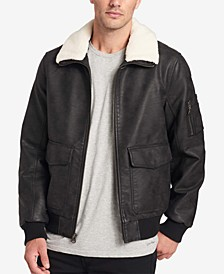 Men's Faux-Leather Aviator Jacket