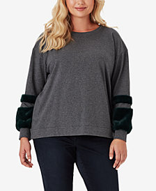 Jessica Simpson Trendy Plus Size Molly Colorblocked Sweater With Faux-Fur Trim