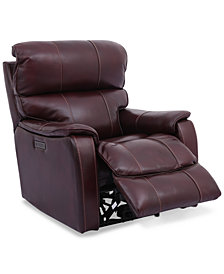 "Hatherleigh 34"" Leather Dual Power Recliner with USB Power Outlet"