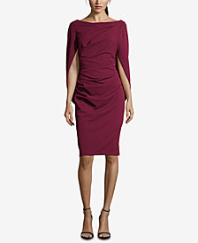Betsy & Adam Petite Cape-Sleeve Sheath Dress