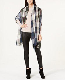 Steve Madden Check Made Plaid Travel Scarf & Wrap