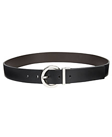 Calvin Klein Reversible Plus-Size Round-Buckle Belt, Created for Macy's