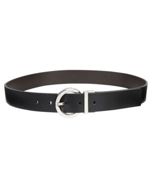 Reversible Plus-Size Round-Buckle Belt, Created For Macy'S in Black/Brown/Silver
