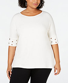 Belldini Plus Size Grommet-Trim Elbow-Sleeve Top