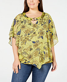 NY Collection Printed-Mesh Poncho Top