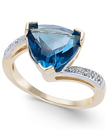 London Blue Topaz (4-1/2 ct. t.w.) & Diamond Accent Ring in 14k Gold