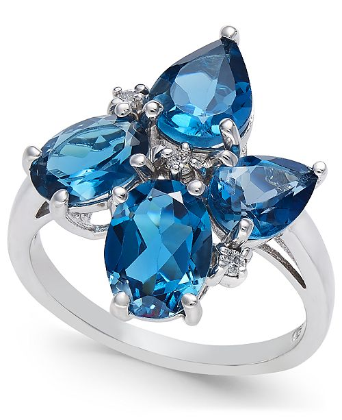 Macy's London Blue Topaz (4-5/8 ct. t.w.) & Diamond Accent Cluster Ring in Sterling Silver