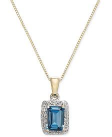 "Blue Topaz (1-3/8 ct. t.w.) & Diamond (1/6 ct. t.w.) 18"" Pendant Necklace in 14k Gold"