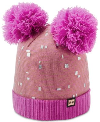 ec34f754fdd Under Armour Big Girls Double-Pom Beanie Hat   Reviews - All Kids   Accessories - Kids - Macy s
