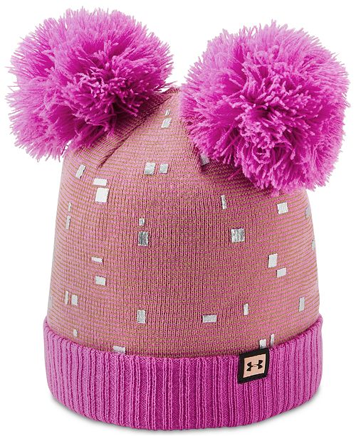 8bc8db62f13 Under Armour Big Girls Double-Pom Beanie Hat   Reviews - All Kids ...