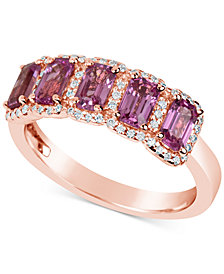 Pink Sapphire (2-1/4 ct. t.w.) and Diamond (1/5 ct. t.w.) Ring in 14K Rose Gold