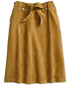 Tommy Hilfiger Women's Suede Midi Skirt From The Adaptive Collection