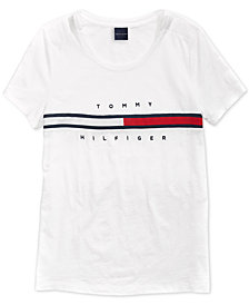 Tommy Hilfiger Adaptive Women's Signature T-Shirt with Magnetic Closure at Shoulders