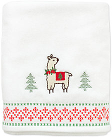 CLOSEOUT! Dena Festive Llama Cotton Embroidered Bath Towel