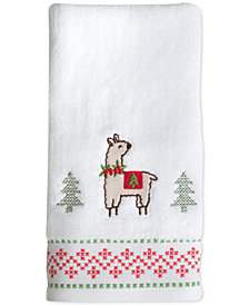 CLOSEOUT! Dena Festive Llama Cotton Embroidered Hand Towel