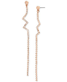 BCBGeneration Rose Gold-Tone Crystal Zigzag Drop Earrings