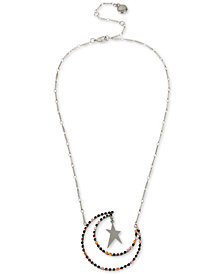"BCBG Silver-Tone Multicolor Crystal Moon & Star Pendant Necklace, 18"" + 3"" extender"